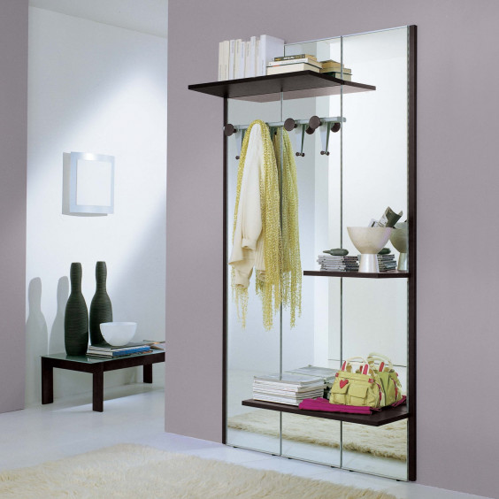 Astor A02 hall mirror with coat rack, also equipped with 3 shelves