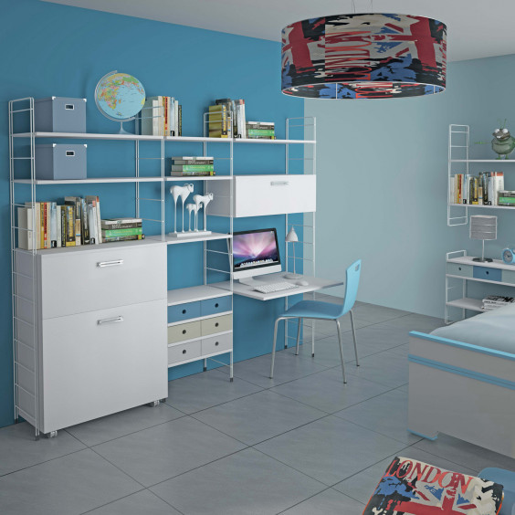 Bookcase for kids bedrooms with built-in desk, storage units and drawers