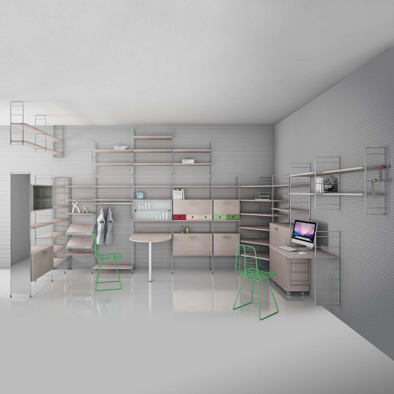 Metal modular bookcase with wooden, white or taupe shelves