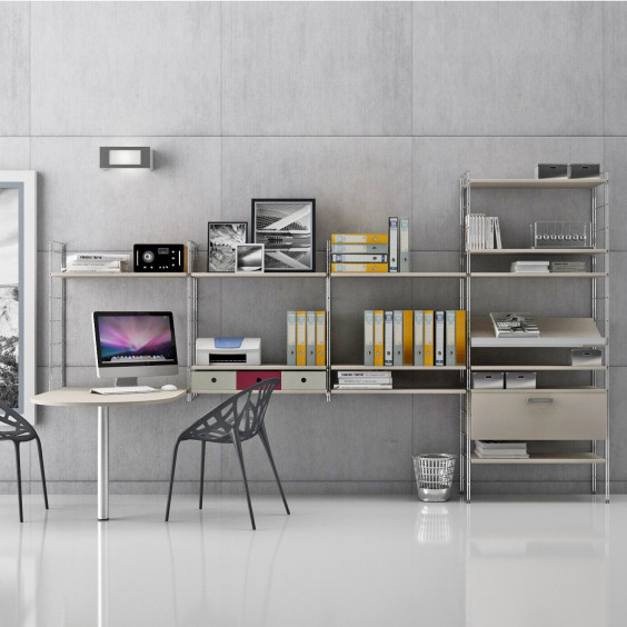 Link Office is a modern metal shelf unit with melamine shelves; it is completely modular and can be composed following your needs