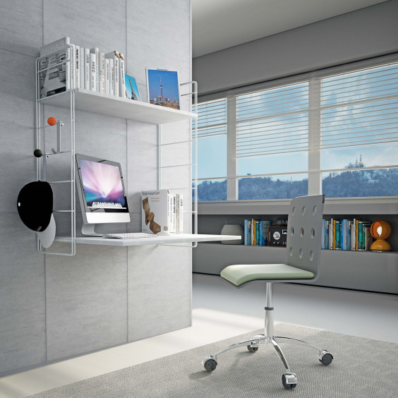 Link PC is a wall computer desk with shelf for books, CDs or DVDs.