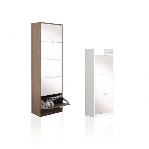 Family Mirror is a modern mirror shoe cabinet with drop-down doors