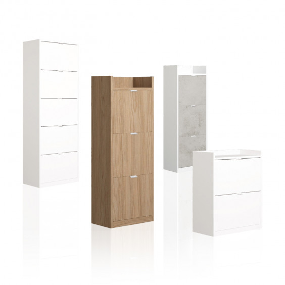 Family Wood is a modern wooden shoe cabinet with drop-down doors.