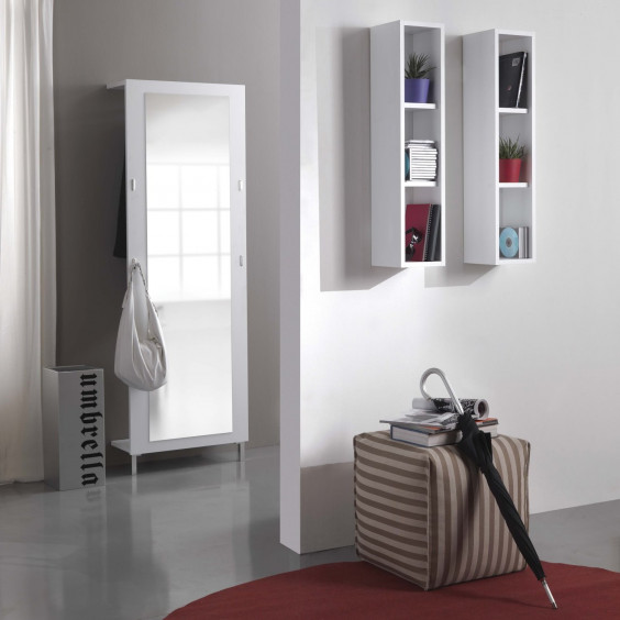 Evolution E01 hallway mirror with coat rack