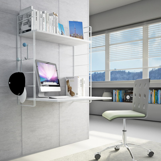 Link PC wall mounted writing desk with 2 shelves