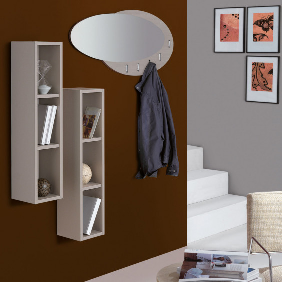 Hallway set with vertical shelves and mirror with coat hooks