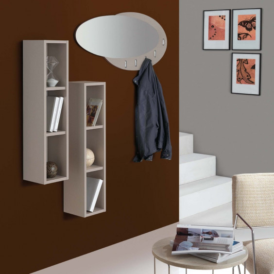 Evolution E05 hallway shelves and mirror set