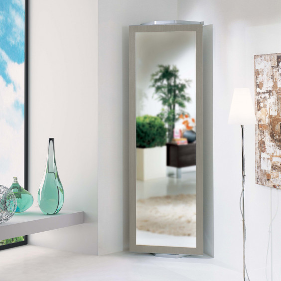 Twister T02 hallway corner mirror, the swivel structure shows a mirror or coat hooks according to your needs