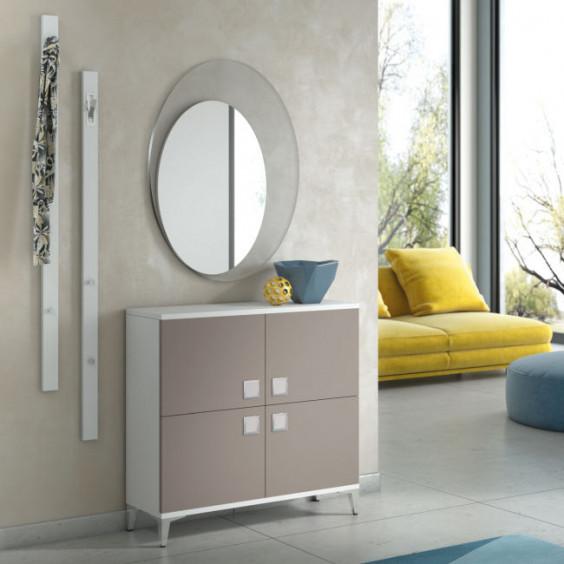 Hallway 4 door low storage cabinet and round mirror
