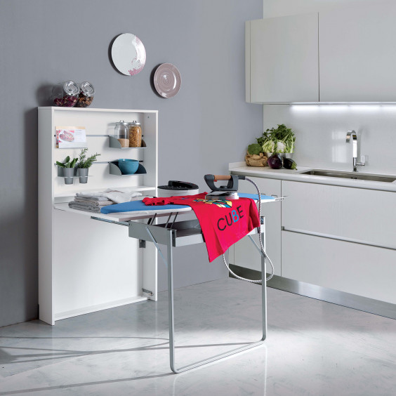 Console table with fold away ironing board