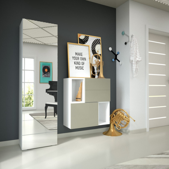 Freestanding coat storage and chest of drawers combo H08 for modern hallways