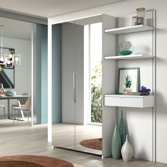 Two door hallway mirror cabinet with interior coat rail, completed by a wall mounted panel with drawer and shelves