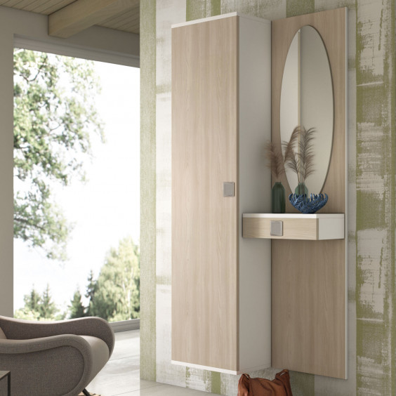 Family F02 is a walnut hallway furniture set, which includes a wall mounted coat storage with three hooks and a wood board equipped with a mirror and a handy drawer.