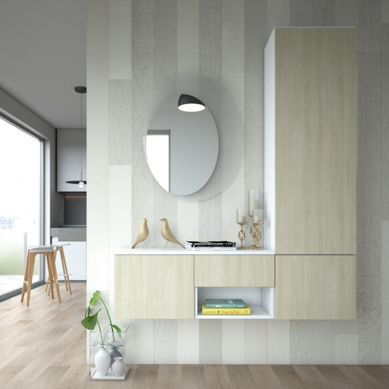 Wall mounted coat cupboard with two shoe storage units and a multi-use drawer and open compartment