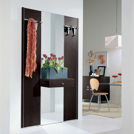 Astor A18 wall mounted hall panel with mirror, drawer and coat rack (dark oak finish out of production)