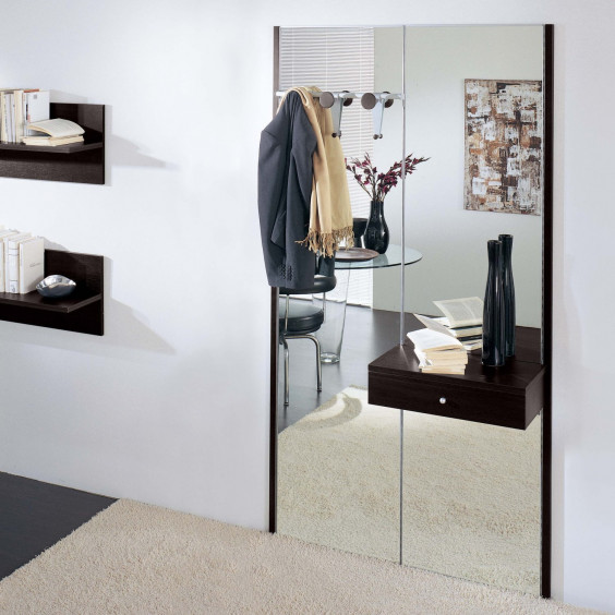 Astor A06 mirrored hallway furniture, equipped with coat hooks and drawer (dark oak finish out of production)