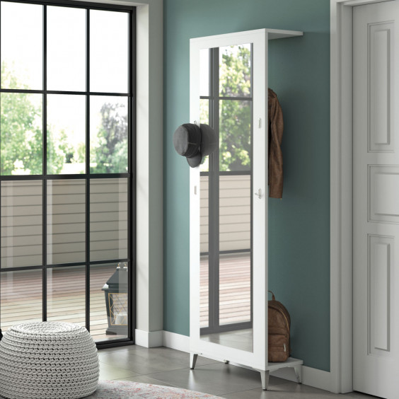 Full length mirror with coat hooks for hallways, corridors or bedrooms