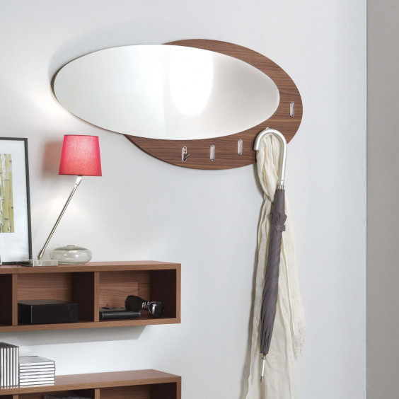Evolution wooden coat rack with mirror
