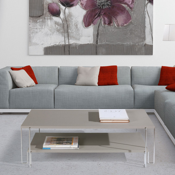 Rectangular double shelf coffee table with chromed metal legs