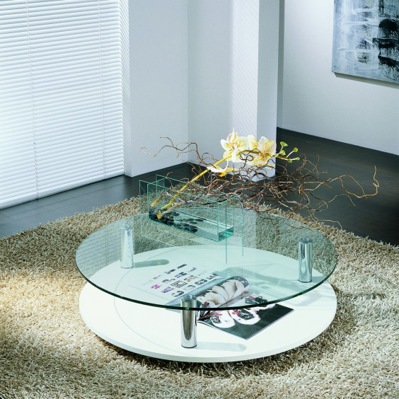 Sun round coffee table with glass top