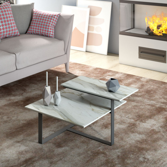 Modern double-top coffee table