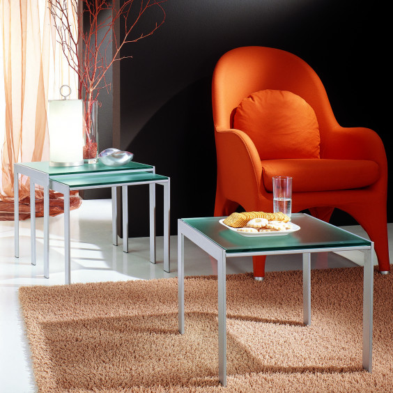Young Tris nest of three end tables for the sitting room with glass top