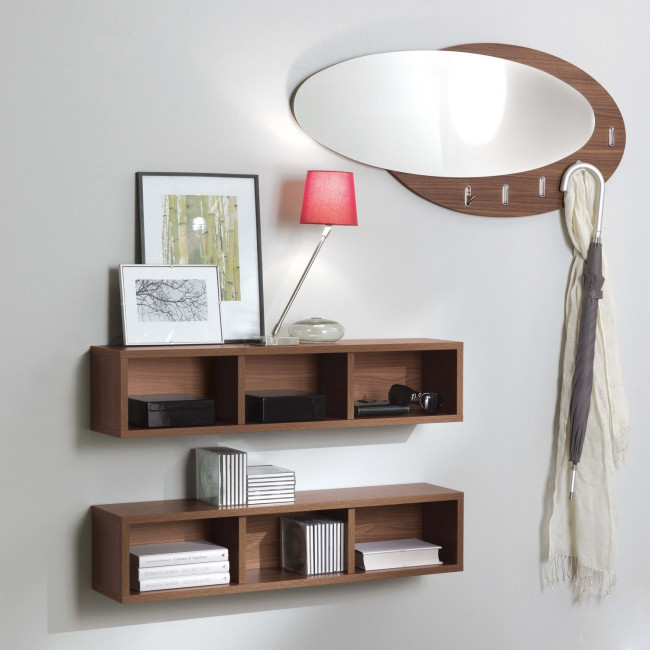 Evolution e05 hallway shelves and mirror set for Arredare corridoio ingresso