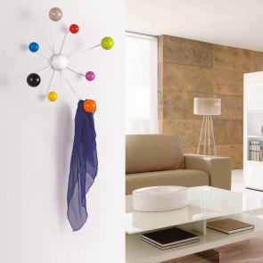 Globo is a coat rack with 8 gumball multi coloured hooks