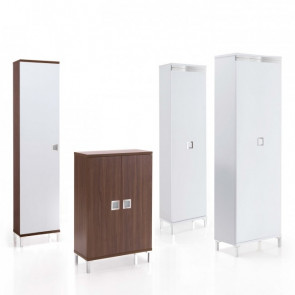Evolution Wood is a shoe wardrobe in wood available with hinged doors or a single sliding door