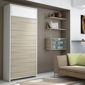 Ready to use murphy bed hidden in a high, narrow cabinet