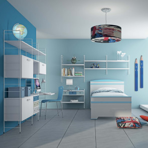 Bookcase for kids bedrooms with built-in desk, storage units and drawers.