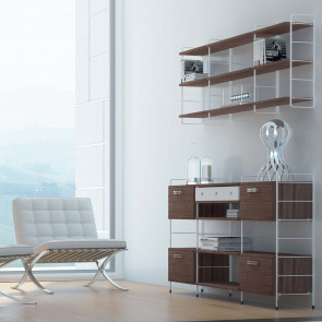 Link modular bookcase for the hallway including shelves, drawers and storage units.