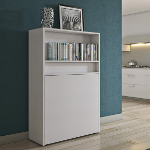 Space-saving cabinet with single folding bed and dining table or desk