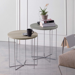 Silver Wood round coffee table in the available two measurements