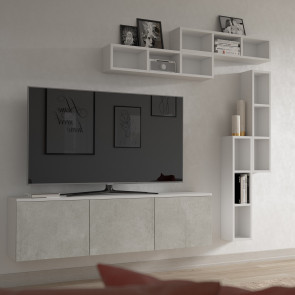 Wall mounted narrow bookcase and cd cabinet Evolution E05