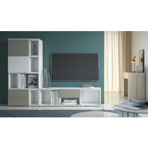 Set of modular storage units for tv with doors, open compartments or drawers