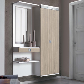 Family F18 modern hall storage in the bright light elm finish.