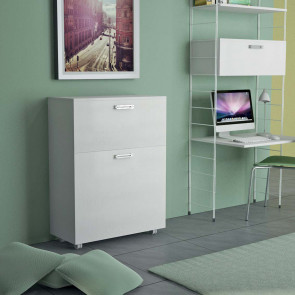 Link 538 bed cabinet with casters. Close it takes up only 35 cm of depth.