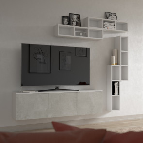 Modular floating tv stand made of w.50 h.40 d.35 cm storage units