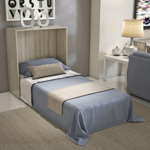 Night'n Day 492 is a cabinet containing a compact foldable single bed with mattress and wood slats