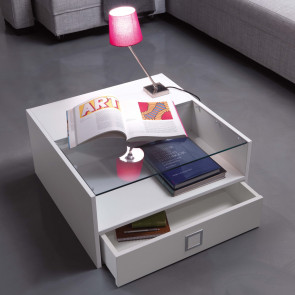 Box square coffee table for the sitting room with comparment and big drawer