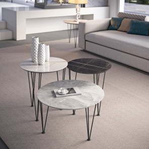 Piramide gres coffee tables with porcelain stoneware top in polished White Gold, polished Orobico Grey, polished Sara Noir Black
