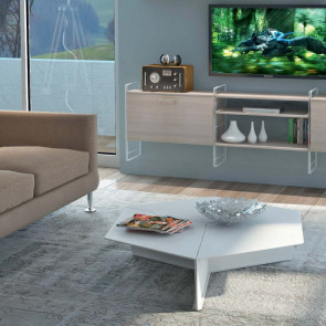 Esagono matt lacquered living room coffee table