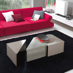 Tetris is a low triangular coffee table for the sitting room customizable to your needs