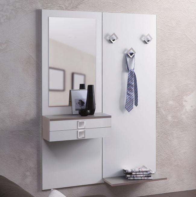 Pannello appendiabiti con cassetto e specchio