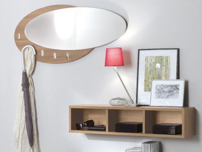 Specchio da ingresso ovale con gancetti appendiabiti