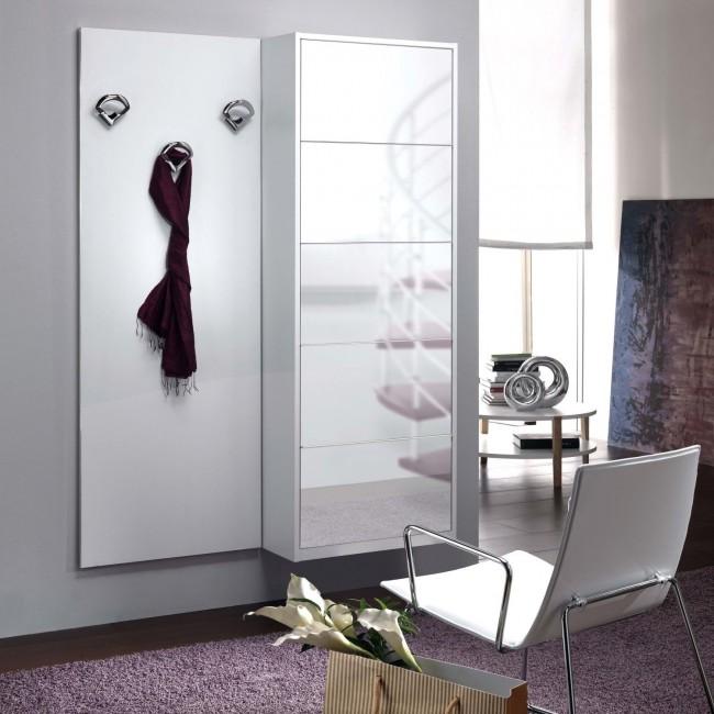 Mobile ingresso con scarpiera bianca a specchio Family F13