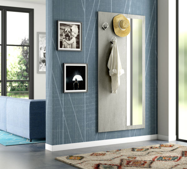 Un ingresso separato con pannello appendiabiti e specchio