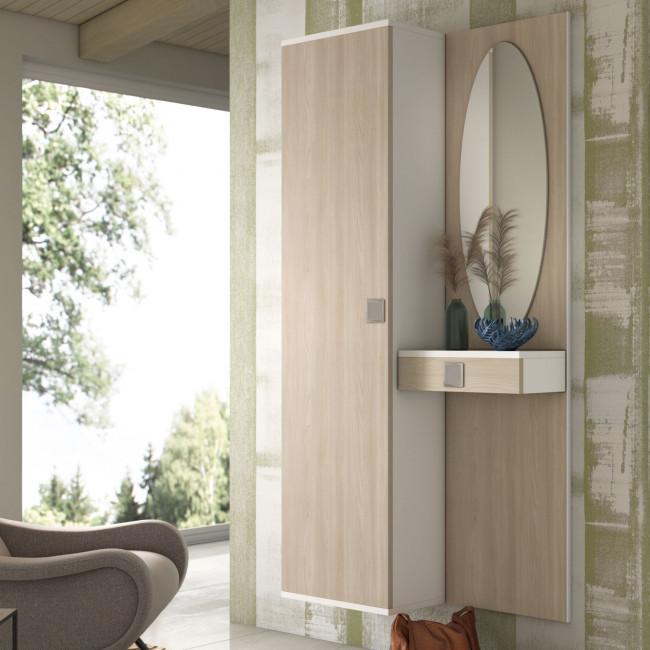 Mobile da ingresso compatto con armadietto e pannello con cassetto e specchio F02