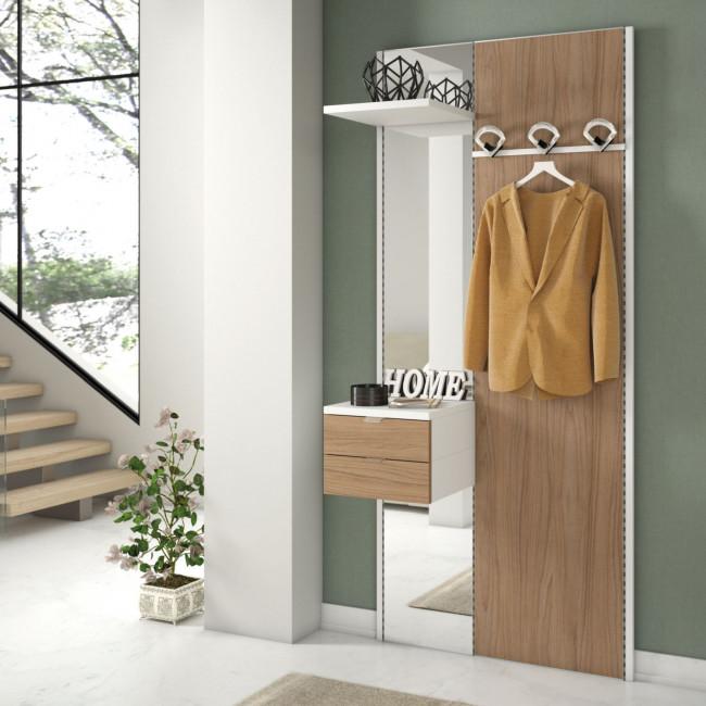 Pannello attrezzato con appendiabiti, specchio e cassetti N03